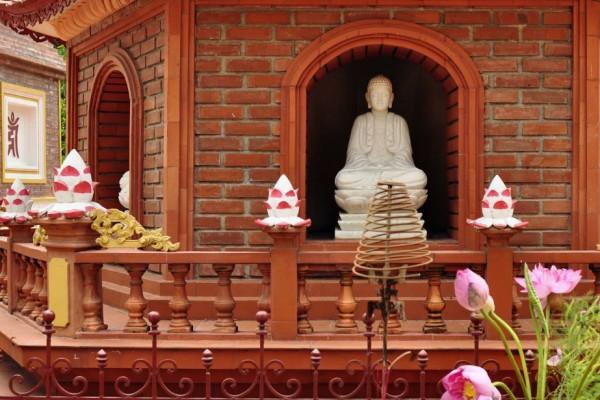 Buddha in Stupa at Tran Quoc Pagodab