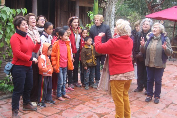 Interacting with local people in Moon Garden, Moon Garden Tour, Moon Garden in Hanoi