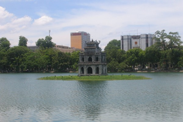 Turtle Tower (Thap Rua) in the center of the Hoan Kiem Lake, Hoan Kiem Lake