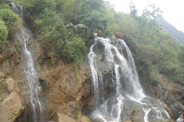 Waterfall in Cat Cat village, Sapa People
