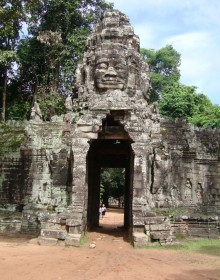 Banteay Kdei Temple one of the many Angkor temples, is located in the Angkor Archaeological Park of 400 square kilometres (150 sq mi) area.