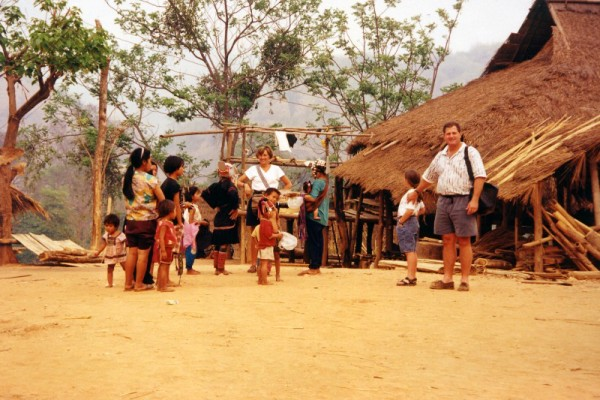 Family visiting Hill Tribes Village, Chiang Mai, Thailand