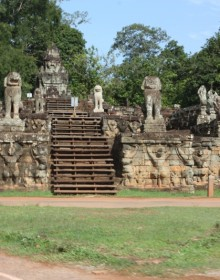 Terrace of the Leper King is located in the northwest corner of the Royal Square of Angkor Thom, Cambodia.