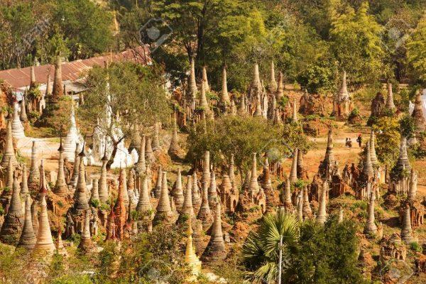 Shwe Inn Thein pagoda, Inle Lake, Myanmar